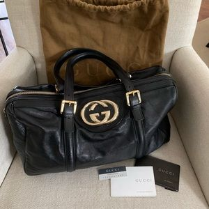 Gucci Leather Britt Boston Bag
